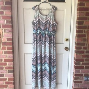 Chevron maxi dress with lace accent